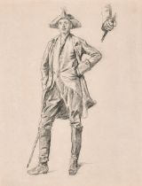 19th Century French School. Study of a Standing Man wearing a Tricorn Hat, Chalk, with another study