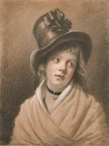 """Early 19th Century Swiss School. A Portrait Study of a Young Lady Wearing a Hat, Chalk, 21"""" x 17"""" ("""