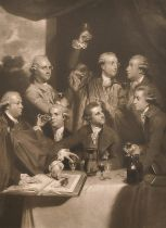 """After Joshua Reynolds (1723-1792) British. """"Members of the Society of Dilettanti"""", with William"""