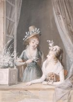 Attributed to Jean-Baptiste Mallet (1759-1835) French. Two Women with a Dog at a Window, Gouache,