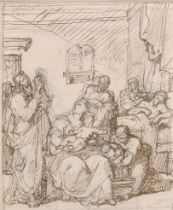 Attributed to Vincenzo Camuccini (1771-1844) Italian. The Birth of Saint John the Baptist, Pen and