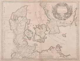 """R. Cordin (18th Century) European. """"Royaume de Danemarq"""", Map, 15"""" x 19.75"""" (38 x 50cm)"""