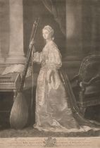 """After Allan Ramsay (1713-1784) British. """"The Right Honorable Lady Mary Campbell"""", Engraving, in a"""