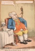 """After Temple West (act.1802-1804) British. """"John Bull Teazed by an Ear-wig!!!"""", Hand Coloured"""