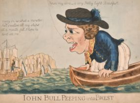 """George Moutard Woodward (1760-1809) British. """"John Bull Peeping into Brest"""", Hand Coloured"""