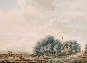 Attributed to Theodorus 'Dirk' Verrijk (1734-1786) Dutch. 'A Ferryman Crossing a Stream with a