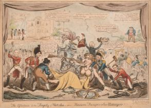 """George Cruickshank (1792-1878) British. """"The Afterpiece to the Tragedy of Waterloo - or - Madam"""