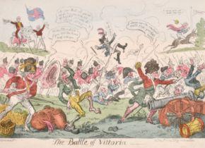 "George Cruickshank (1792-1878) British. ""The Battle of Vittoria"", Hand Coloured Engraving, Published"