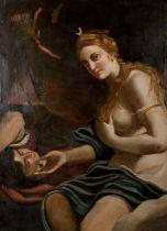 "18th Century Italian School. Charity, Oil on Canvas, 47"" x 34.5"" (119.4 x 87.6cm)"