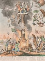 """James Gillray (1757-1815) British. """"Siege de la Colonne de Pompee"""", Etching, later Impression Hand"""