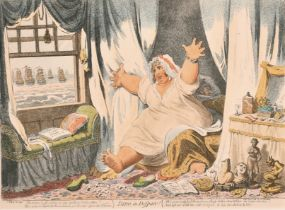 After James Gillray (1757-1815) British. 'Dido in Despair', a Caricature of Lady (Emma) Hamilton,