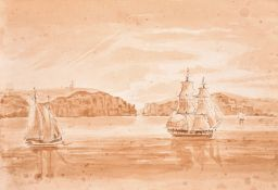 """Early 19th Century English School, """"Timber Float off Sourabaya"""" (Indonesia), Pencil and Wash,"""