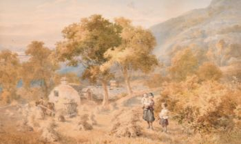 John Henry Mole (1814-1886) British. A Mountainous Landscape with Harvesting and Children in the