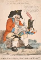 """Circle of Temple West (act.1802-1804) British. """"John Bull Clipping the Corsican's Wings!!"""", Hand"""