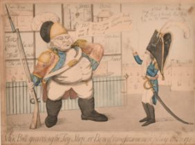 """J.B. (Early 19th Century) British. """"John Bull Guarding the Toy Shop"""", Hand Coloured Etching,"""