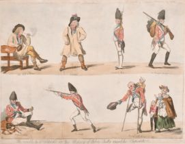 """Isaac Cruikshank (1764-1811) British. """"He Would be a Soldier, or The History of John Bull's"""