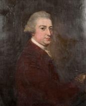 Follower of Sir Joshua Reynolds (1723-1792) British. Bust Portrait of a Wigged Man, Oil on Canvas,