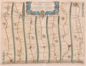 """John Ogilby (1600-1676) British. """"The Road from Hereford to Leicester"""", Map in Colours, 13.5"""" x 17."""