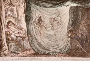 """James Gillray (1757-1815) British. """"Ci - Devant Occupations - or - Madame Talin and the Empress"""