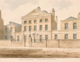 """Frederick Nash (1782-1856) British. """"Westminster Lying-In Hospital"""", Watercolour, Signed and"""