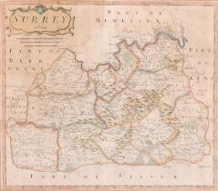 """Robert Morden (1650-1703) British. """"Surrey"""", Map, 14"""" x 16.5"""" (35.5 x 42cm)"""