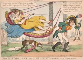 """After Thomas Rowlandson (1757-1827) British. """"The Dunghill Cock and Game Pullet or Boney Beat out of"""