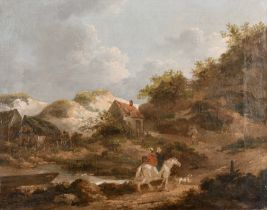 Attributed to George Morland (1763-1804) British. Figures on Horseback by a Cottage, Oil on