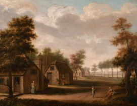 """Circle of George Smith of Chichester (1714-1776) British. """"Figures on a Path in a Village"""", Oil on"""