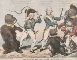 """18th - 19th Century English School. """"Northern Bears Taught to Dance"""", Hand Coloured Etching,"""