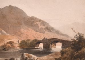 """John Varley (1778-1842) British. """"River View with Bridge"""", Watercolour, Inscribed on a label"""