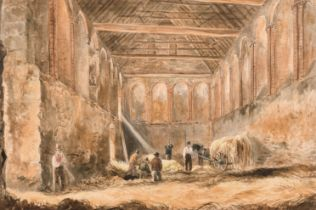 """James Pattison Cockburn (1779-1847) British. """"The Stable at Eltham Palace"""", Watercolour, Signed"""