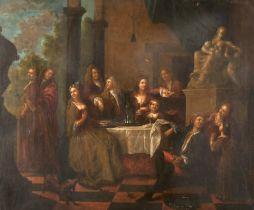 "18th Century Dutch School. Elegant Figures at a Table on a Terrace, Oil on Canvas, 19.5"" x 23.5"" ("
