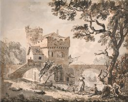 Circle of Paul Sandby (1725-1809) British. 'A Castellated Watermill with River Bridge', Watercolour,