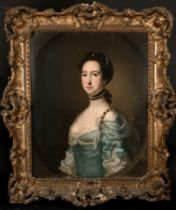 Circle of Francis Cotes (1726-1770) British. Bust Portrait of a Lady, Dressed in Green and White and