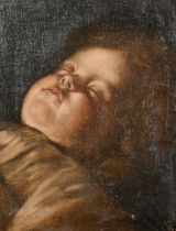 18th Century Flemish School. Study of a Young Child Sleeping, Oil on Canvas, Indistinctly