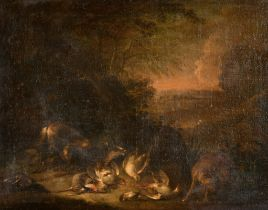"""Circle of Jan Fyt (1611-1661) Dutch. A Landscape with Dogs and Dead Game, Oil on Canvas, 13"""" x 17.5"""""""