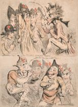 """James Gillray (1757-1815) British. """"The National Assembly Petrified - Revivified"""", Hand Coloured"""