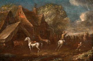 "18th Century Dutch School. Figures and Horses by an Inn, Oil on Panel, 5"" x 8"" (12.7 x 22.2cm)"