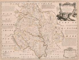 "Emmanuel Bowen (1693-1767) British. ""Hereford Shire"", Map, 20.25"" x 27.5"" (51.4 x 69.8cm)"