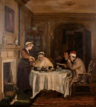 """After David Wilkie (1785-1841) British. """"The Breakfast"""", Oil on Panel, Unframed, 31"""" x 27.75"""" (77."""