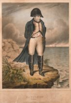 """After Paul Delaroche (1797-1856). """"Napoleon in Exile"""", Hand Coloured Engraving, 10.4"""" x 8.25"""" (26."""