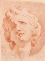"19th Century Italian School. 'Anguish', Sanguine, Inscribed verso, Unframed 13.5"" x 9.5"" (34.5 x"