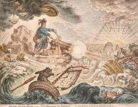 """James Gillray (1757-1815) British. """"Bruin in his Boat - or - The Manager in Distress"""", Hand Coloured"""