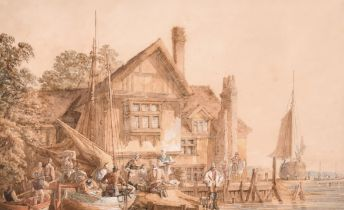 """Circle of Samuel Prout (1783-1852) British. Figures in Front of a Dockside Inn, Watercolour, 6.75"""" x"""