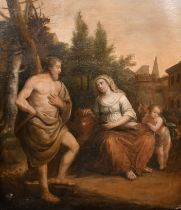 """18th Century English School. Rebecca at the Well, Oil on Unstretched Canvas, 28"""" x 23"""" (71.1 x 58."""