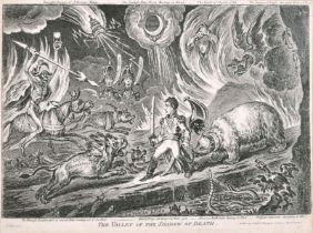 """James Gillray (1757-1815) British. """"The Valley of the Shadow of Death"""", Engraving, 9.75"""" x 14.85"""" ("""