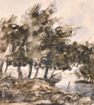 Circle of John Constable (1776-1837) British. A River Landscape, Watercolour, Inscribed on Mount,