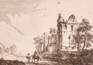 """Paul Sandby (c.1730-1809) British. """"Ruined Abbey with Travellers on the Road"""" 1758, Etching, 5.15"""" x"""