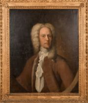 18th Century English School. Portrait of Mr Weekes, Oil on Canvas, Painted Oval, In a Carved