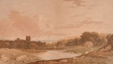 """John Varley (1778-1842) British. """"Landscape with Ruined Castle"""", Watercolour, Inscribed on labels"""